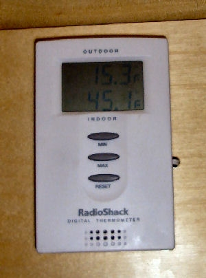Morning temperature inside and outside